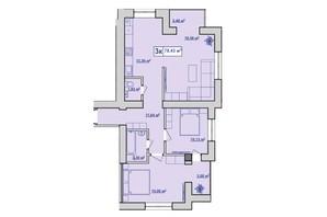 ЖК вул. Чорновола, 155: планування 3-кімнатної квартири 78.43 м²