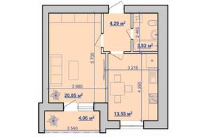 ЖК вул. Горбачевського, 40б: планування 1-кімнатної квартири 43.74 м²