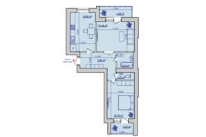 ЖК вул. Горбачевського, 40б: планування 2-кімнатної квартири 68.21 м²