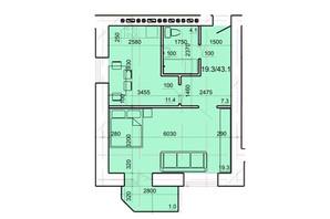 ЖК вул. Монастирська, 44: планування 1-кімнатної квартири 43.1 м²