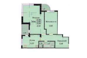ЖК вул. Роксолани, 16: планування 2-кімнатної квартири 75.3 м²