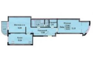 ЖК вул. Роксолани, 16: планування 2-кімнатної квартири 74.2 м²