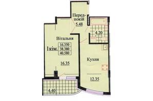 ЖК вул. Роксолани, 16: планування 1-кімнатної квартири 40.1 м²