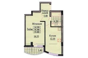 ЖК вул. Роксолани, 16: планування 1-кімнатної квартири 39.4 м²