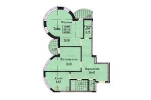 ЖК вул. Роксолани, 16: планування 2-кімнатної квартири 68.9 м²