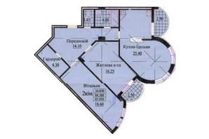 ЖК вул. Роксолани, 16: планування 2-кімнатної квартири 85.2 м²