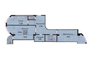 ЖК вул. Роксолани, 16: планування 2-кімнатної квартири 84.9 м²