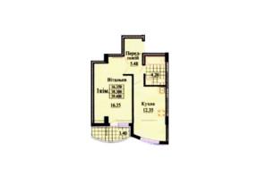ЖК вул. Роксолани, 16: планування 2-кімнатної квартири 44.7 м²