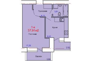 ЖК вул. Сінна: планування 1-кімнатної квартири 37.91 м²