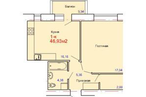 ЖК вул. Сінна: планування 1-кімнатної квартири 46.93 м²