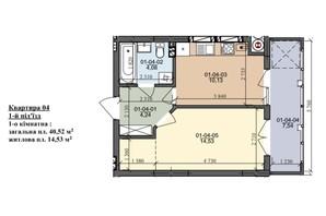 ЖК вул. Трускавецька: планування 1-кімнатної квартири 40.52 м²