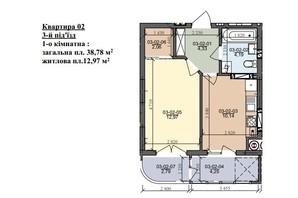 ЖК вул. Трускавецька: планування 1-кімнатної квартири 38.78 м²