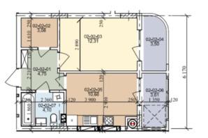 ЖК вул. Трускавецька: планування 1-кімнатної квартири 39.58 м²