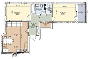ЖК вул. Трускавецька: планування 2-кімнатної квартири 66.86 м²