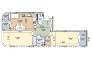 ЖК вул. Трускавецька: планування 2-кімнатної квартири 73.26 м²
