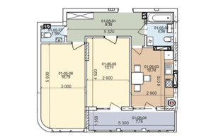 ЖК вул. Трускавецька: планування 2-кімнатної квартири 66.25 м²