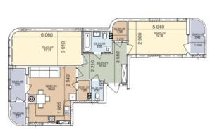 ЖК вул. Трускавецька: планування 2-кімнатної квартири 75.16 м²