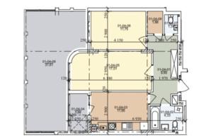ЖК вул. Трускавецька: планування 2-кімнатної квартири 68.42 м²