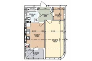 ЖК вул. Трускавецька: планування 1-кімнатної квартири 41.46 м²