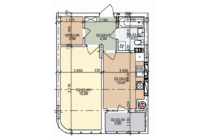 ЖК вул. Трускавецька: планування 1-кімнатної квартири 41.35 м²
