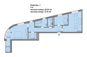 ЖК вул. Варшавська: планування 2-кімнатної квартири 71.09 м²