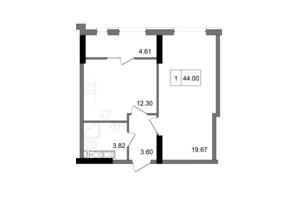 ЖМ ARTVILLE: планування 1-кімнатної квартири 44 м²