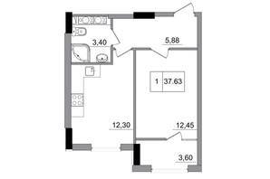 ЖМ ARTVILLE: планування 1-кімнатної квартири 37.63 м²