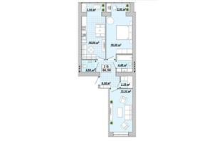ЖР Княгинин: планировка 2-комнатной квартиры 66.5 м²