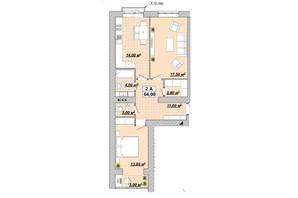 ЖР Княгинин: планировка 2-комнатной квартиры 64 м²