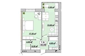 ЖР Княгинин: планировка 1-комнатной квартиры 45 м²