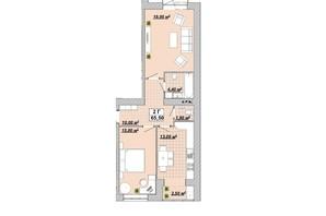 ЖР Княгинин: планировка 2-комнатной квартиры 65.5 м²