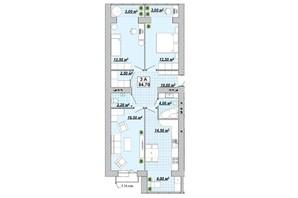 ЖР Княгинин: планировка 3-комнатной квартиры 84.7 м²