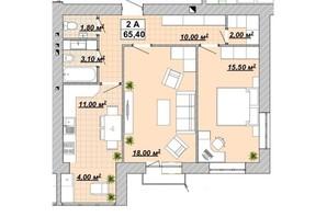 ЖР Княгинин: планировка 2-комнатной квартиры 65.4 м²