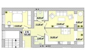ЖР Княгинин: планировка 2-комнатной квартиры 65 м²