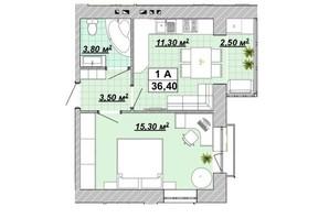 ЖР Княгинин: планировка 1-комнатной квартиры 36.4 м²