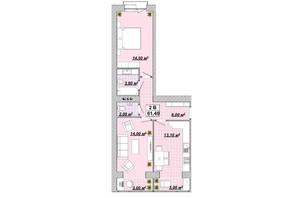 ЖР Княгинин: планировка 2-комнатной квартиры 61.4 м²