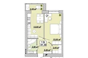 ЖР Княгинин: планировка 1-комнатной квартиры 41.3 м²