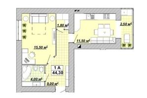 ЖР Княгинин: планировка 1-комнатной квартиры 44.3 м²