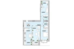 ЖР Княгинин: планировка 3-комнатной квартиры 88.3 м²