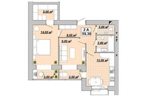 ЖР Княгинин: планировка 2-комнатной квартиры 59.3 м²