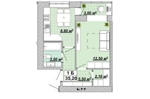 ЖР Княгинин: планировка 1-комнатной квартиры 35.2 м²
