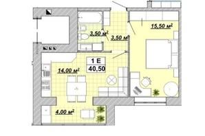 ЖР Княгинин: планировка 1-комнатной квартиры 40.5 м²