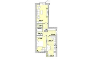 ЖР Княгинин: планировка 2-комнатной квартиры 64.4 м²