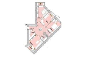 ЖР Княгинин: планировка 3-комнатной квартиры 88.8 м²
