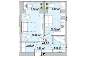 ЖР Княгинин: планировка 1-комнатной квартиры 41 м²