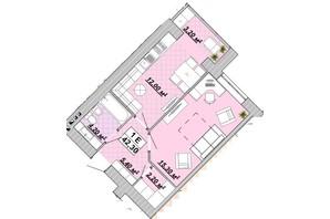 ЖР Княгинин: планировка 1-комнатной квартиры 42.3 м²