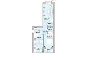 ЖР Княгинин: планировка 2-комнатной квартиры 62.2 м²