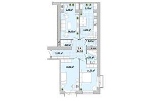 ЖР Княгинин: планировка 3-комнатной квартиры 84.5 м²
