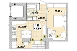 ЖР Княгинин: планировка 1-комнатной квартиры 41.8 м²