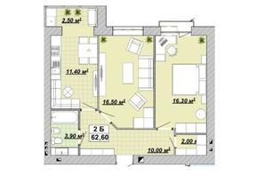 ЖР Княгинин: планировка 2-комнатной квартиры 62 м²